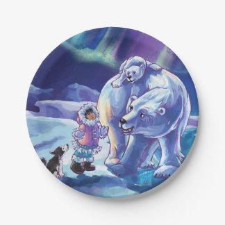 北極に友達の絵を描くこと ペーパープレート