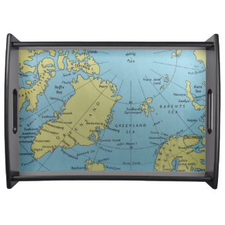 北極のサービングの皿のヴィンテージの地図 トレー