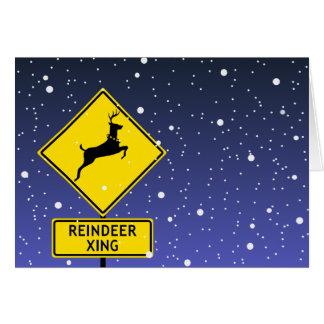 北極のトナカイの交差の印 カード