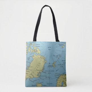 北極のトートバックのヴィンテージの地図 トートバッグ