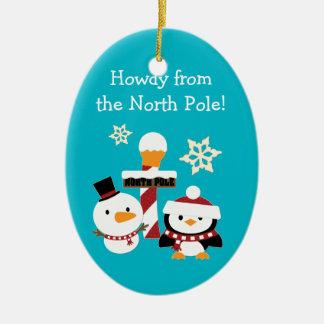 北極の名前入りな子供のクリスマス セラミックオーナメント