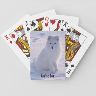 北極アラスカの白いキツネの冬の姿勢 トランプ