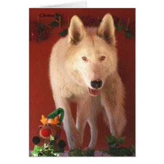 北極オオカミのクリスマスカード カード