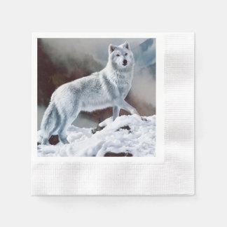 北極オオカミ 縁ありカクテルナプキン