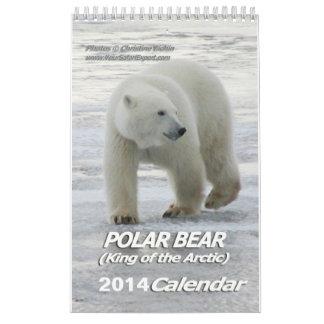 北極カレンダーの2014年の1ページの白くま王 カレンダー