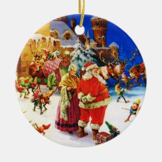 北極クリスマスイブのサンタ及び夫人クロース セラミックオーナメント