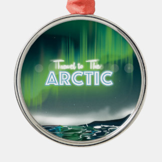 北極旅行ポスター芸術への旅行 メタルオーナメント