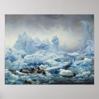 北極海のセイウチのために採取します、1841年 ポスター