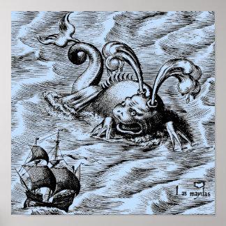 北極海モンスターおよび帆船 ポスター