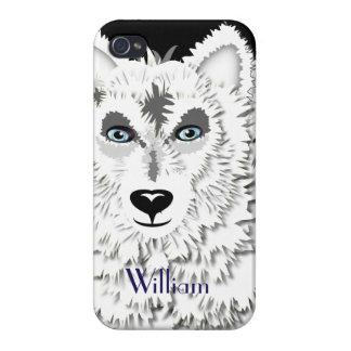 北極白いオオカミの野生動物のデザイン iPhone 4/4Sケース