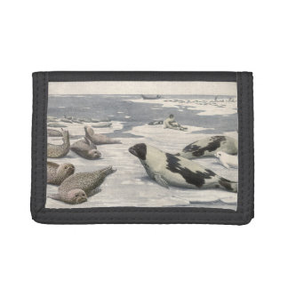 北極雪のヴィンテージのタテゴトアザラシ、海生動物 ナイロン三つ折りウォレット