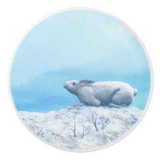 北極arcticusノウサギ、lepusまたは北極のウサギ セラミックノブ