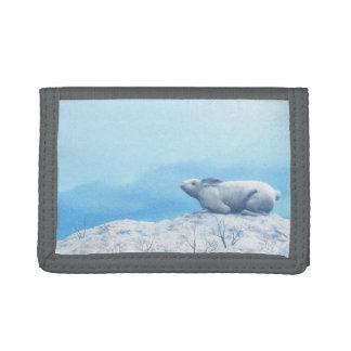 北極arcticusノウサギ、lepusまたは北極のウサギ ナイロン三つ折りウォレット