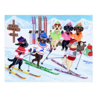 北欧にスキーラブラドールの絵を描くこと ポストカード