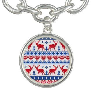 北欧のクリスマスのトナカイパターン チャームブレス