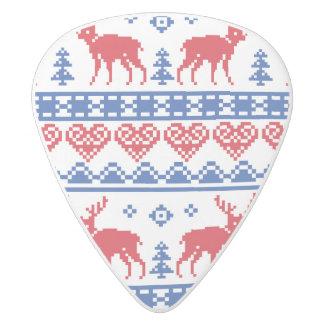 北欧のクリスマスのトナカイパターン ホワイトデルリン ギターピック