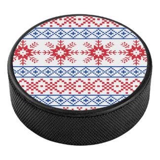 北欧のクリスマスの雪片のボーダー アイスホッケーパック