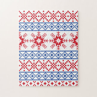 北欧のクリスマスの雪片のボーダー ジグソーパズル