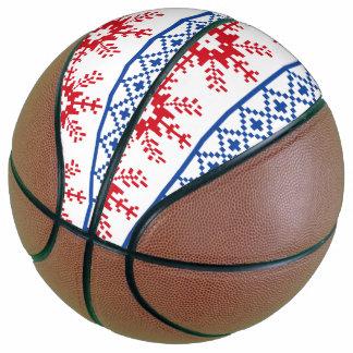 北欧のクリスマスの雪片のボーダー バスケットボール