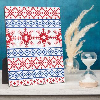 北欧のクリスマスの雪片のボーダー フォトプラーク