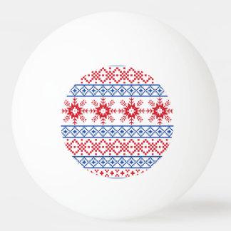 北欧のクリスマスの雪片のボーダー 卓球ボール