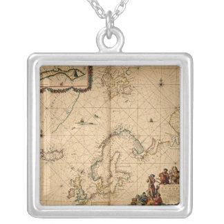 北欧の地図 シルバープレートネックレス