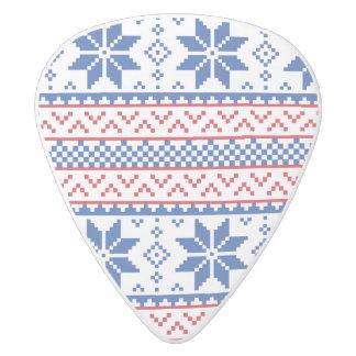 北欧の雪片のクリスマスパターン ホワイトデルリン ギターピック