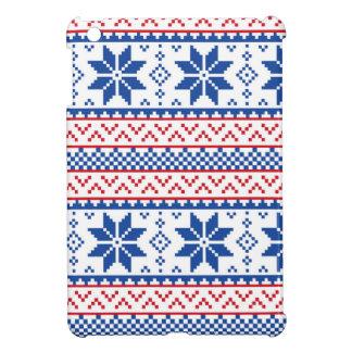 北欧の雪片のクリスマスパターン iPad MINIケース