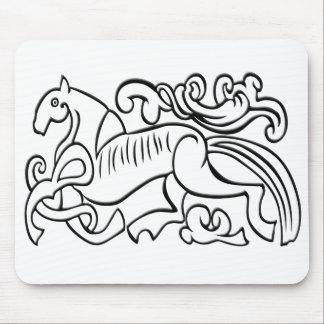 北欧の馬の白黒写実的なイメージ マウスパッド