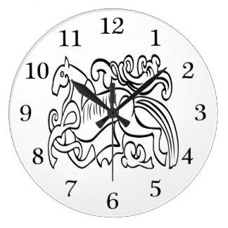 北欧の馬の白黒写実的なイメージ ラージ壁時計