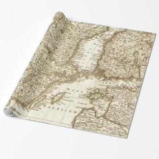 北欧諸国のギフト用包装紙のセピア色の調子の地図 ラッピングペーパー