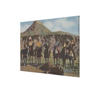 北西インディアン-バッファローの狩りおよびインディアン キャンバスプリント