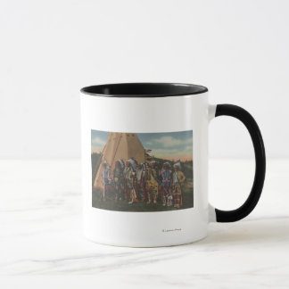 北西インディアン-戦争のインディアンの酋長の列 マグカップ