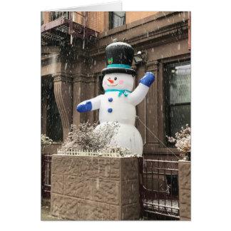 北西側の雪だるまのニューヨークシティNYCの雪 カード