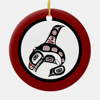 北西太平洋沿岸のHaidaの芸術のシャチ セラミックオーナメント