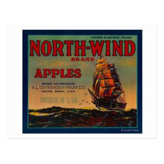 北風のAppleの木枠LabelYakima、WA ポストカード