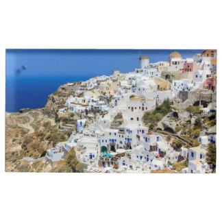 北Santoriniの島ギリシャのOiaの村 テーブルカードホルダー