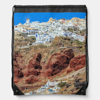 北Santoriniの島ギリシャのOiaの村 ナップサック