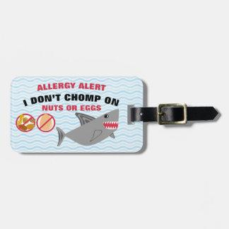 医学のキットのための卵およびナットのアレルギー警報鮫 ラゲッジタグ