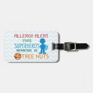 医学のキットのための木のナットのアレルギーのスーパーヒーロー警報 ラゲッジタグ