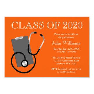 医学の看護専門学校のオレンジの卒業 カード