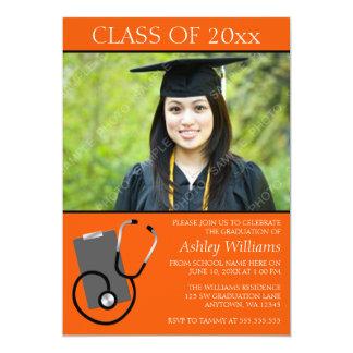 医学の看護専門学校のオレンジ写真の卒業 カード