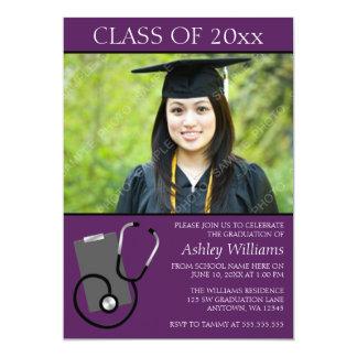 医学の看護専門学校の紫色の写真の卒業 カード