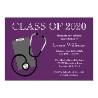 医学の看護専門学校の紫色の卒業 カード