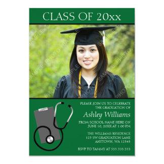 医学の看護専門学校の緑の写真の卒業 カード