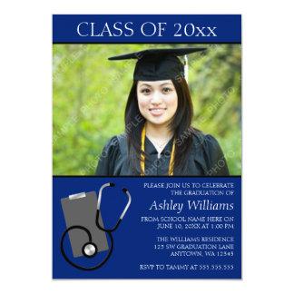 医学の看護専門学校の青い写真の卒業 カード