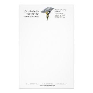 医学の銀製のケリュケイオンの黒の金の文房具 便箋