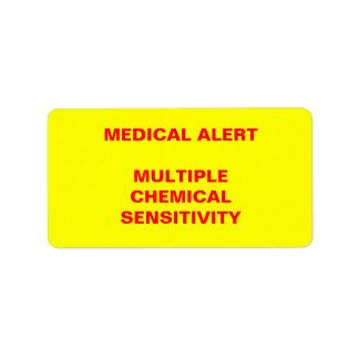 医学警報: 多数の化学感受性 ラベル