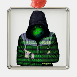 匿名のインターネットのハッカー メタルオーナメント