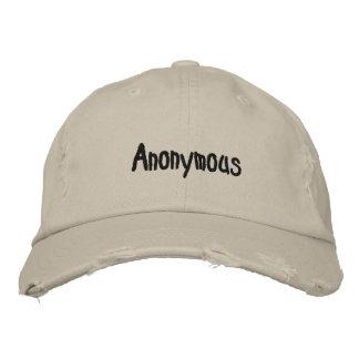 匿名の帽子 刺繍入りキャップ